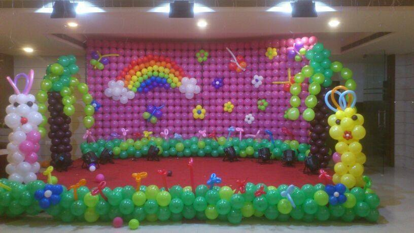 Birthday stage balloon decorators and theme 3d decorators for Balloon decoration for stage