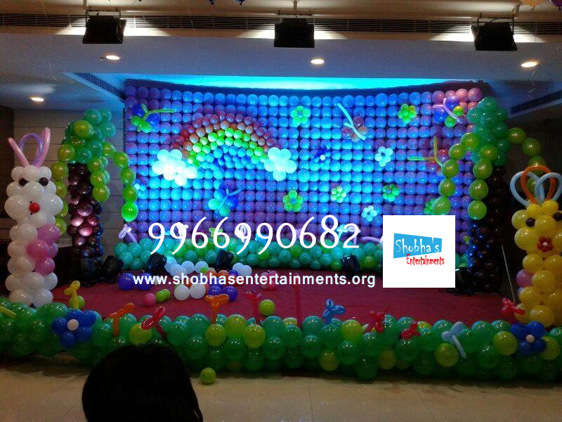 Balloon walls shobha 39 s entertainments for 1st birthday stage decoration