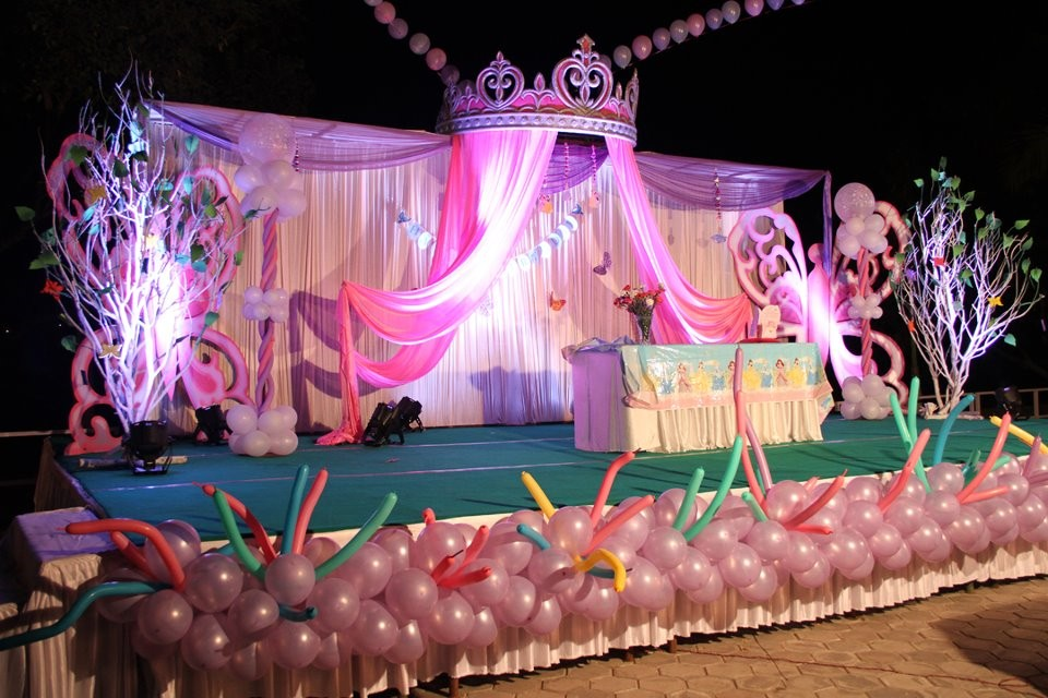 Birthday Party Stage Balloon Decorators And Girls Birthday Theme