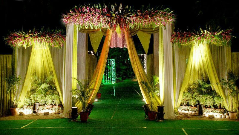 Wedding and reception flower decoration and stage for Artificial flower decoration mandap