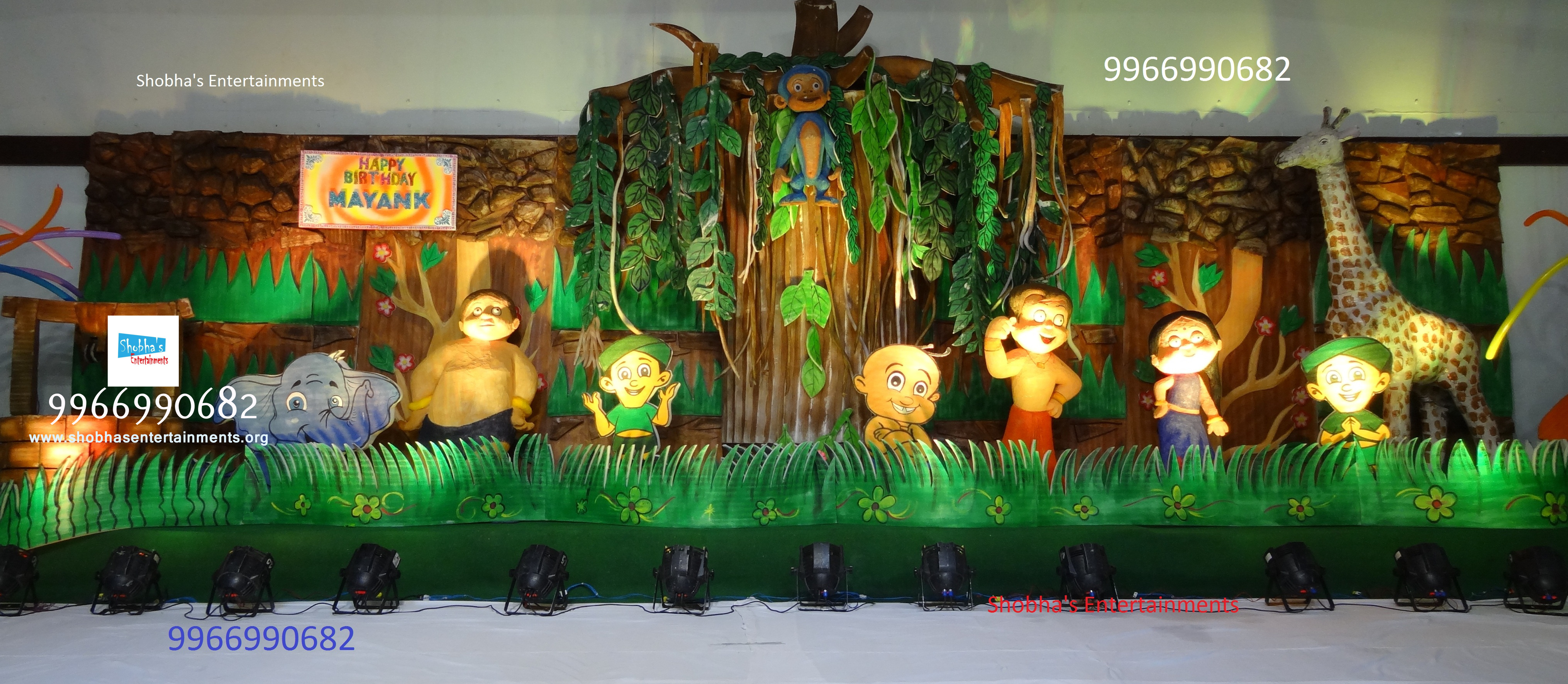 3d chota bheem theme stage in hyderabad shobha 39 s for Annual function decoration