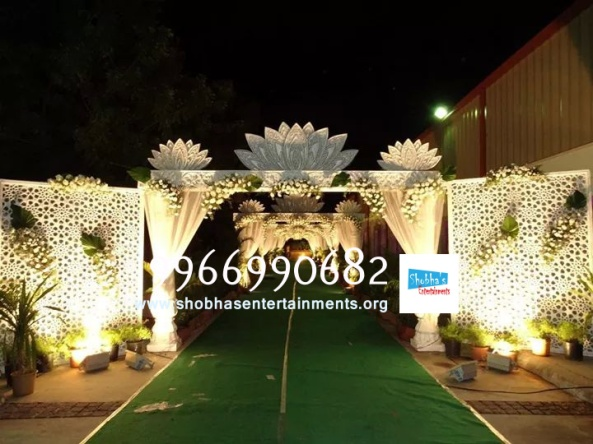 wedding stage flower and reception stage decorations in hyderabad
