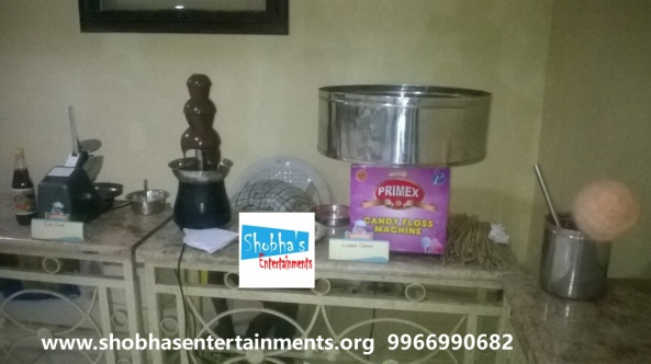 choclate fountain, popcorn, sugar candy, ice gola, bouncy suppliers and welcome dolls in hyderabad