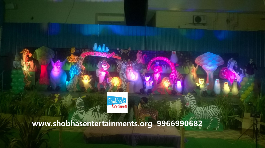 birthday decorations madgascar theme party in hyderabad Shobhas