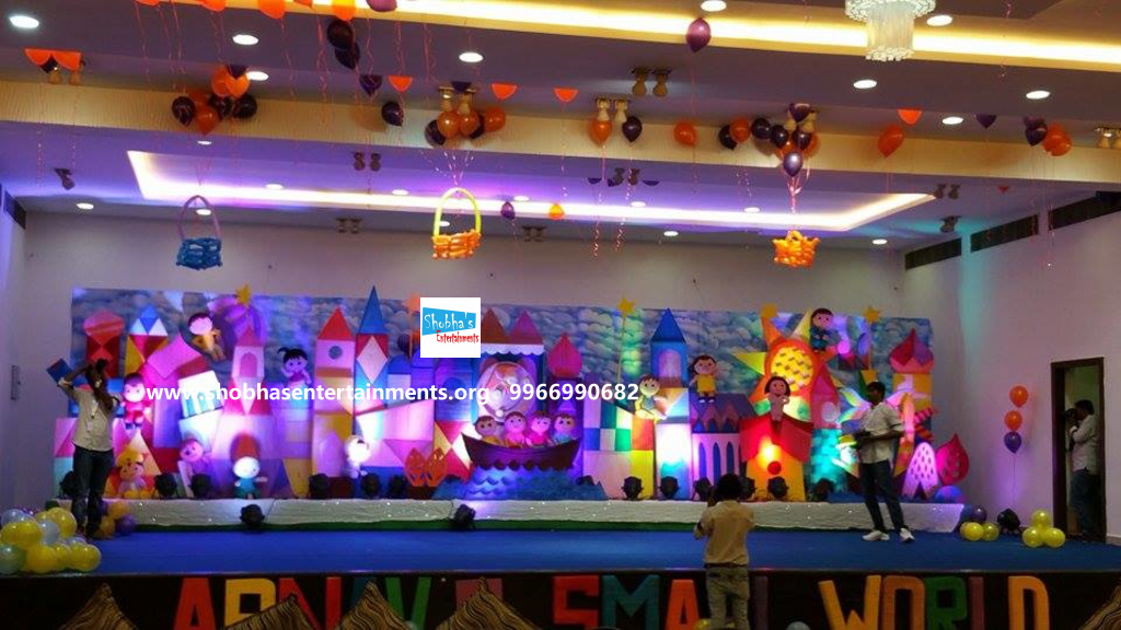 Girls themes shobha 39 s entertainments for 1st birthday stage decoration