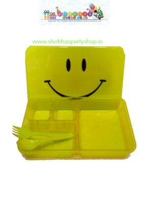rectangular smiley lunch box with spoon 85 (2)