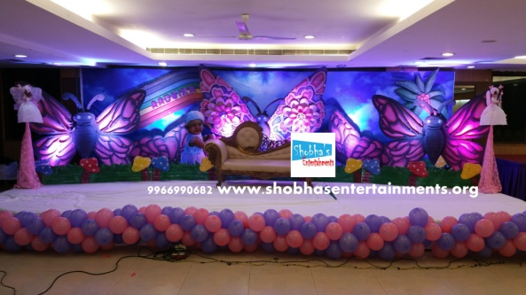 Butterfly theme for birthday party decorations in for 1st birthday stage decoration hyderabad