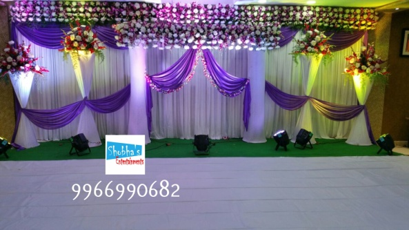 Reception Stage Decorations Done At Chandras Residency Banquets