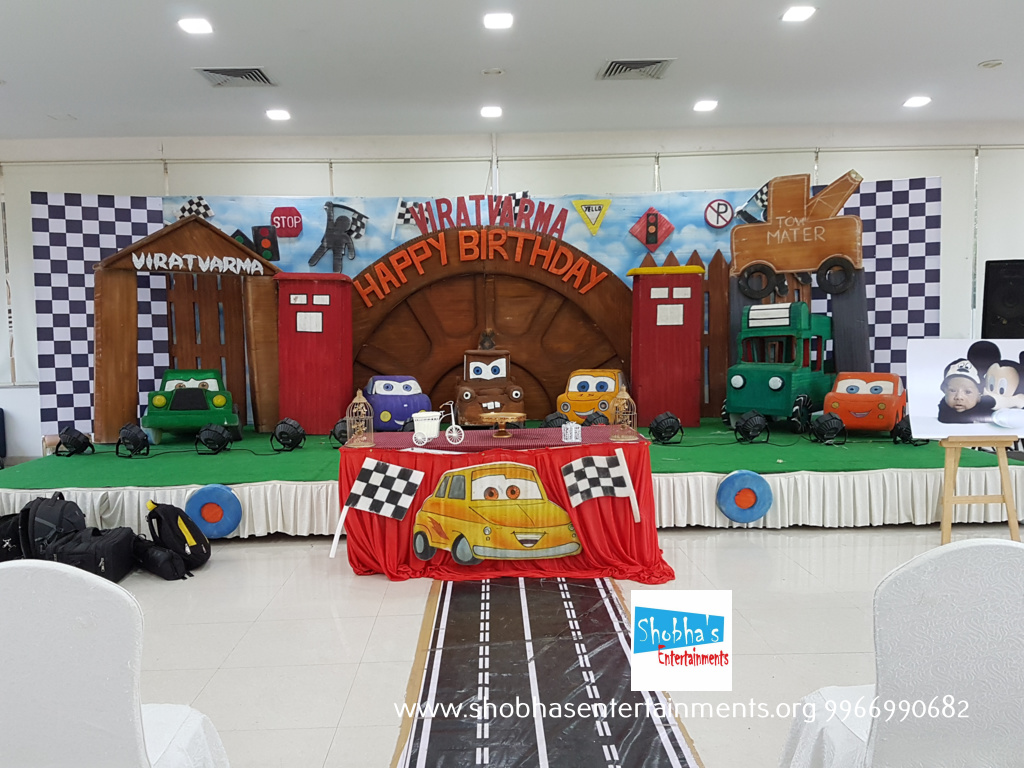 Cars theme birthday party decorations at Butta convention for Virat