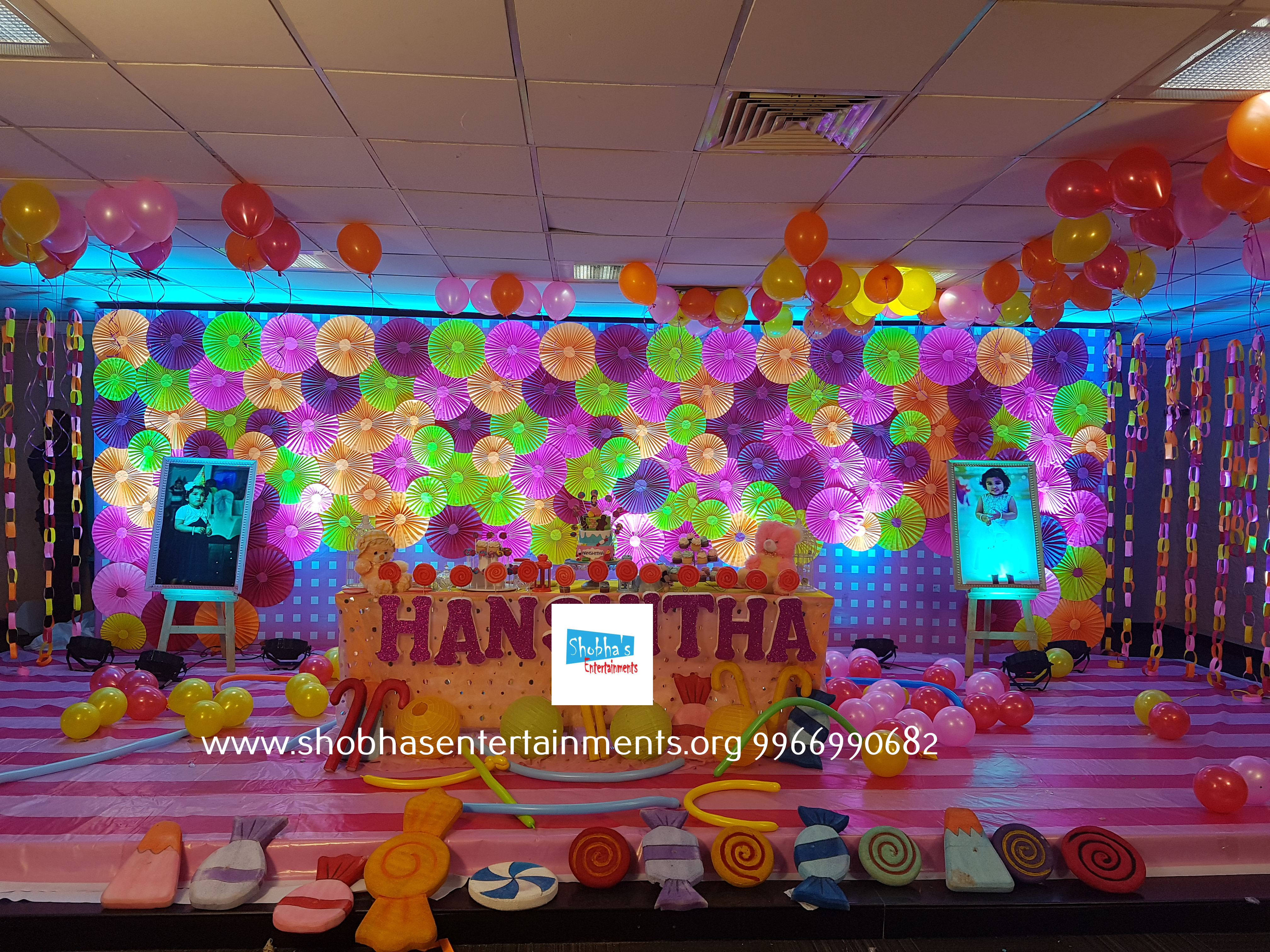 Birthday party decorations with pinwheels background photos display